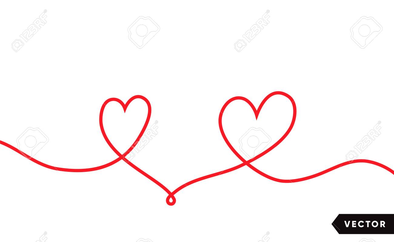 Continuous one line drawing of red heart isolated on white background. Vector illustration - 125328907