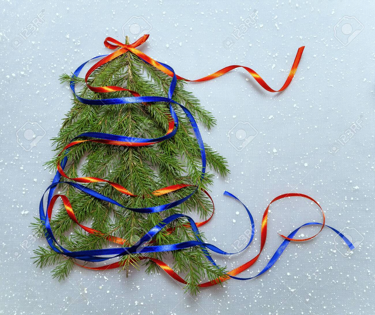 Colorful Christmas Background With Christmas Tree Red And Blue Stock Photo Picture And Royalty Free Image Image 135464069