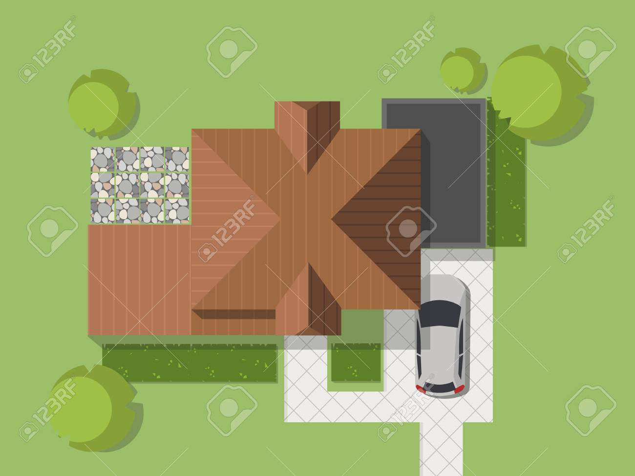 Top view of a country with a house, courtyard, lawn and garage. Top view of a house. Vector illustration. - 81705522