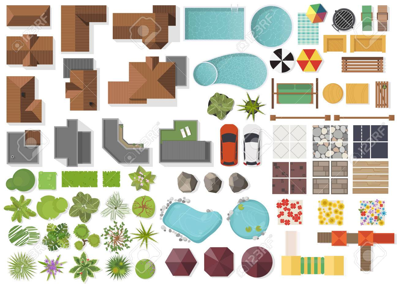 Set Landscape elements, top view.House, garden, tree, lake, swimming pools, bench, table. Landscaping symbols set isolated on white - 81733275
