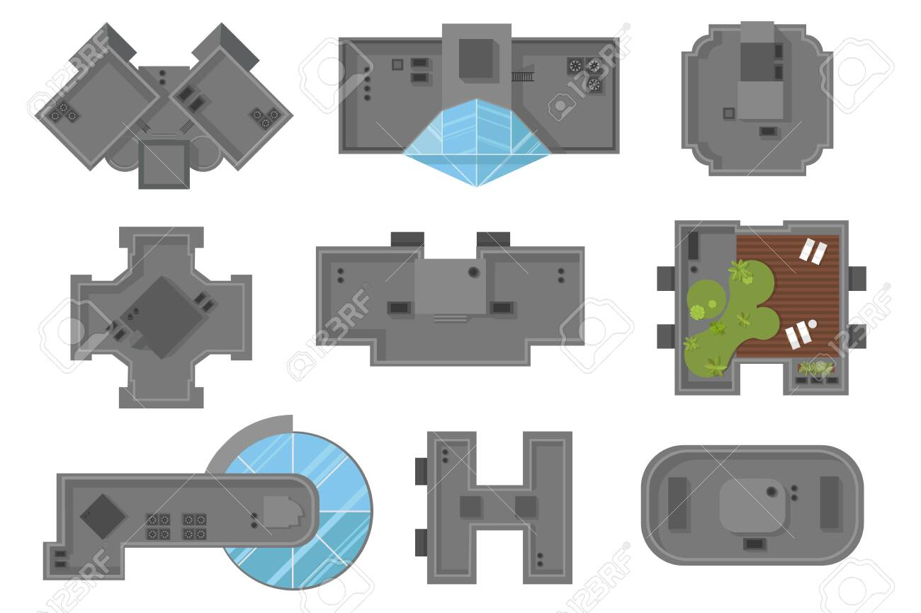 Top view of houses and skyscrapers A collection of architectural elements - 129114356