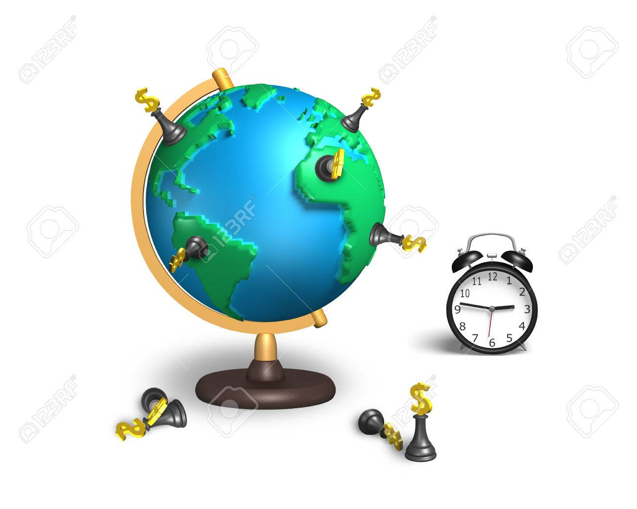 Dollar chess stand on 3d map terrestrial globe with alarm clock dollar chess stand on 3d map terrestrial globe with alarm clock isolated on white stock photo gumiabroncs Image collections