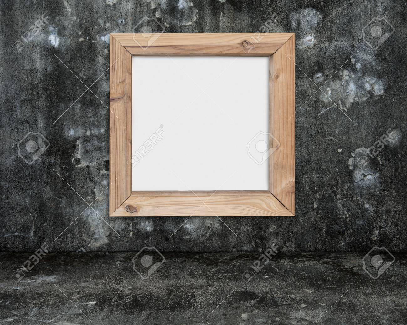 Blank Whiteboard With Wooden Frame On Dark Mottled Concrete Wall ...