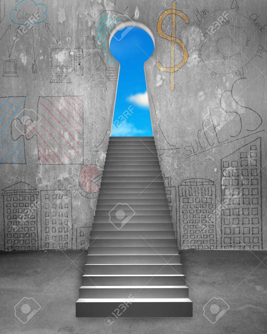 857afec73bee0 Key Form Tür auf Geschäfts Kritzeleien Wand mit Betontreppe und blauer  Himmel Blick Standard-Bild