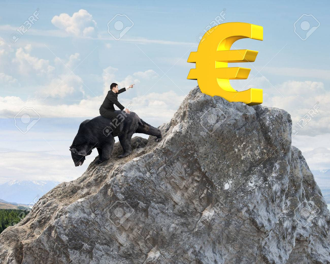 Businessman riding black bear pursuing gold euro symbol on businessman riding black bear pursuing gold euro symbol on mountain peak with sunlight clouds background biocorpaavc Images