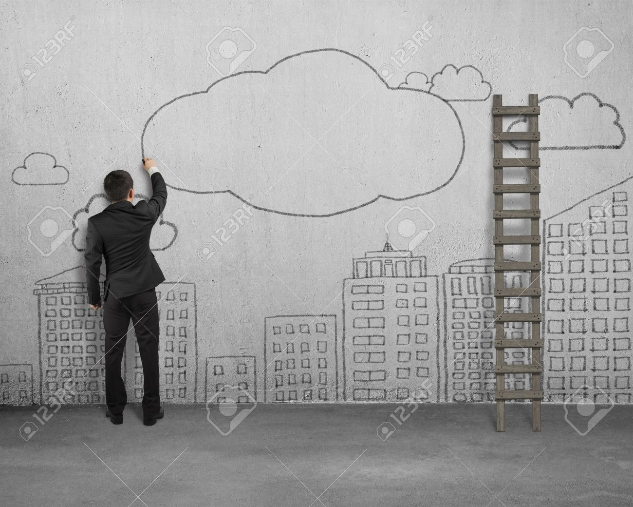 Businessman Drawing Clouds With Copy Space And City Buildings