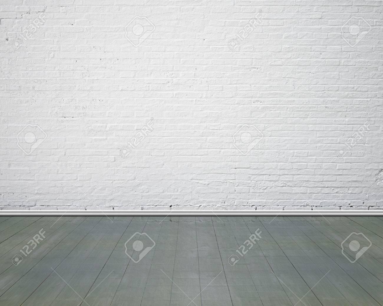 White brick wall with vintage wooden floor indoor, nobody, empty - 52366938