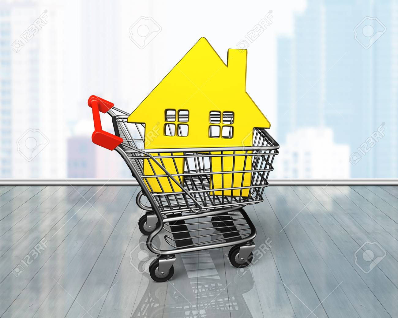 Golden House In Shopping Cart, On Glass Wall And Wooden Floor ...