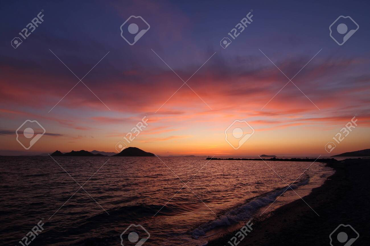 Seaside town of Turgutreis and spectacular sunsets - 148944445