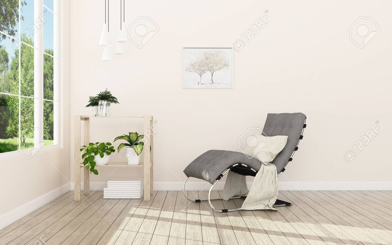 Relax Space In Home. White Room Can See Garden Outside From Window.  Scandinavian Interior