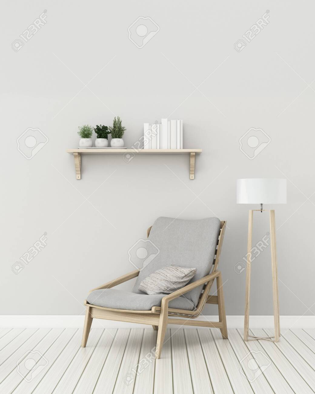 Modern interior of living room with chair and lamp. -3d rendering - 128796319