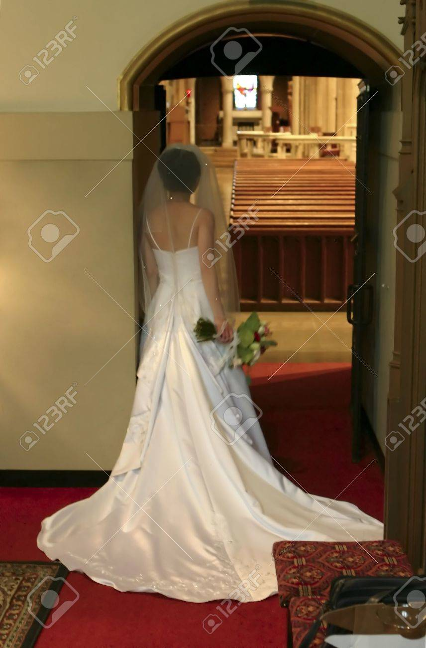 Bride Waiting to Enter the Church On Her Wedding Day Stock Photo - 267147