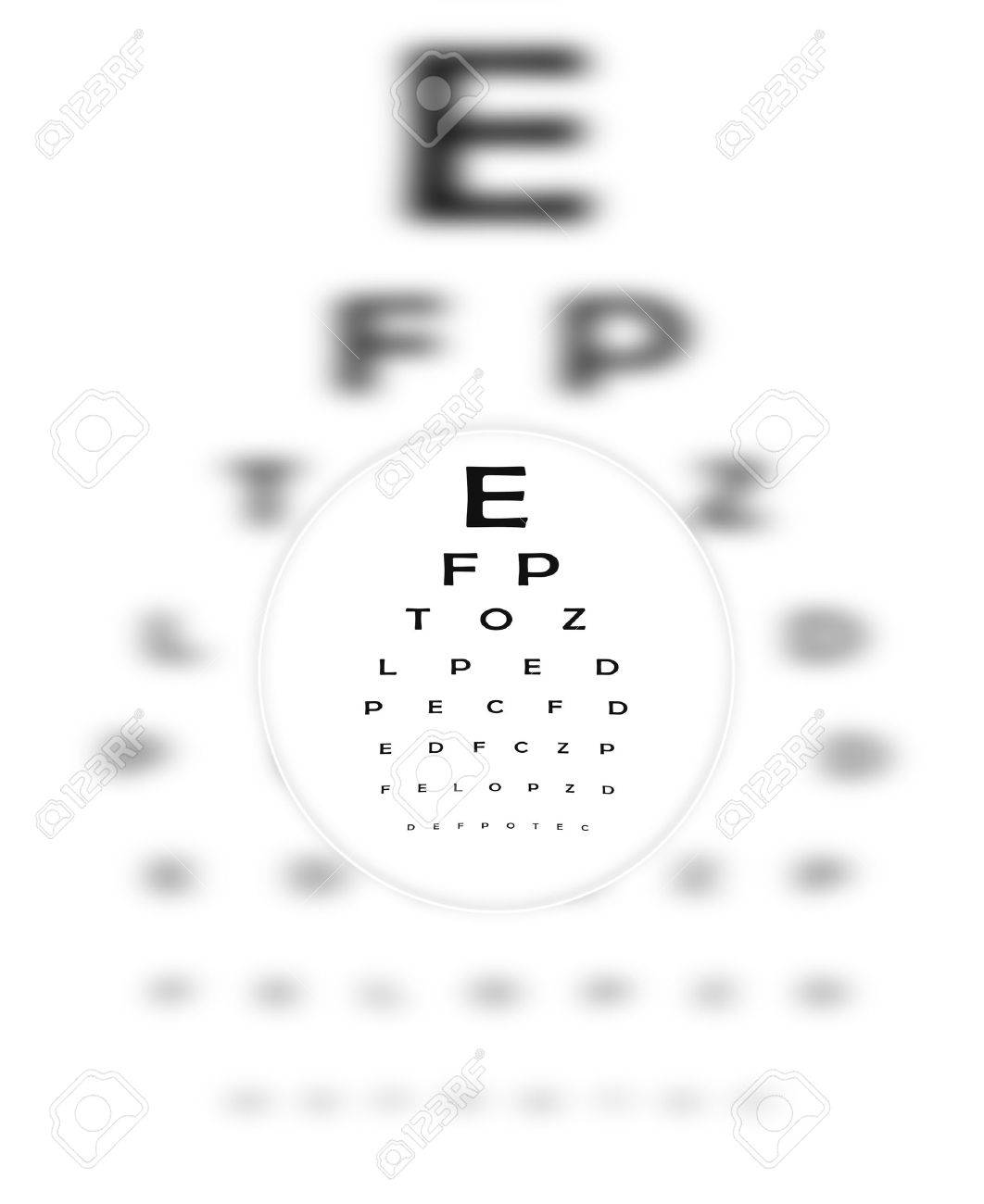 Corrective Contact Lense Focuses Eye Chart Letters Clearly.  The Eye Chart is shown blurred in the background. Stock Photo - 8355136