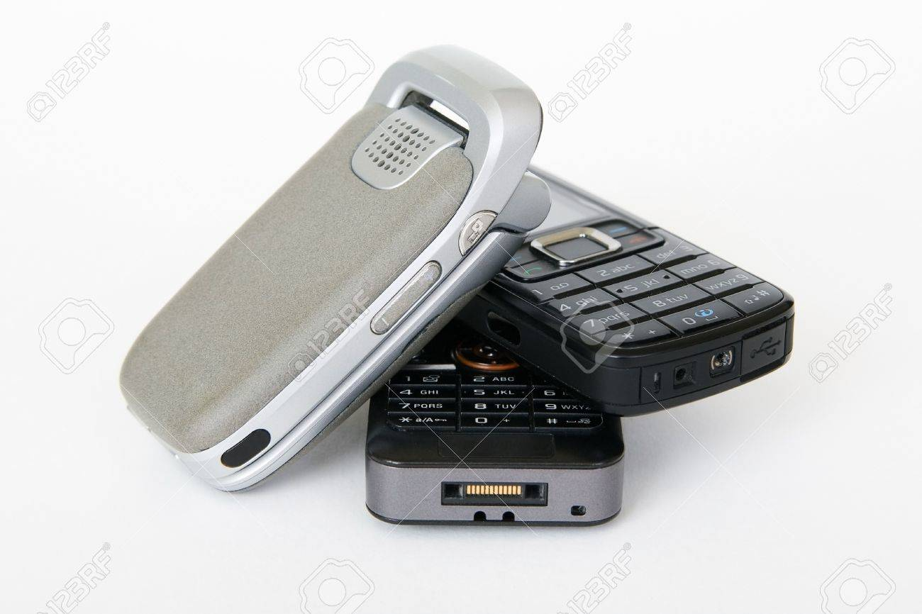 Three mobile phones with white background Stock Photo - 13622793