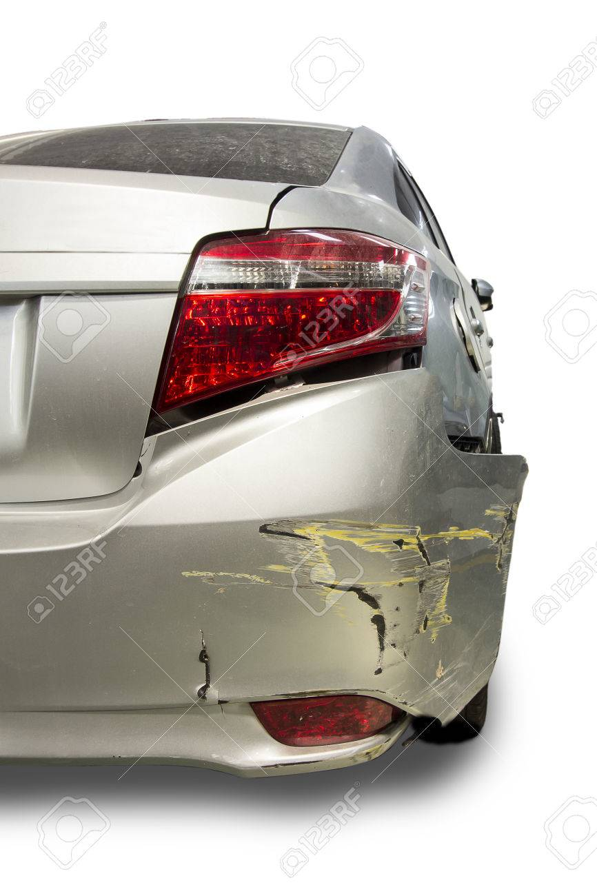 Car Of Accident Make Rear Bumper Cracked Damaged At Claim The