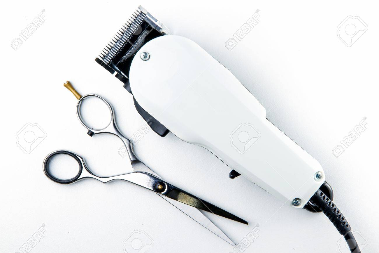 Hair Cutting Scissors And Hair Clippers For Hairdressers Stock Photo 49255594