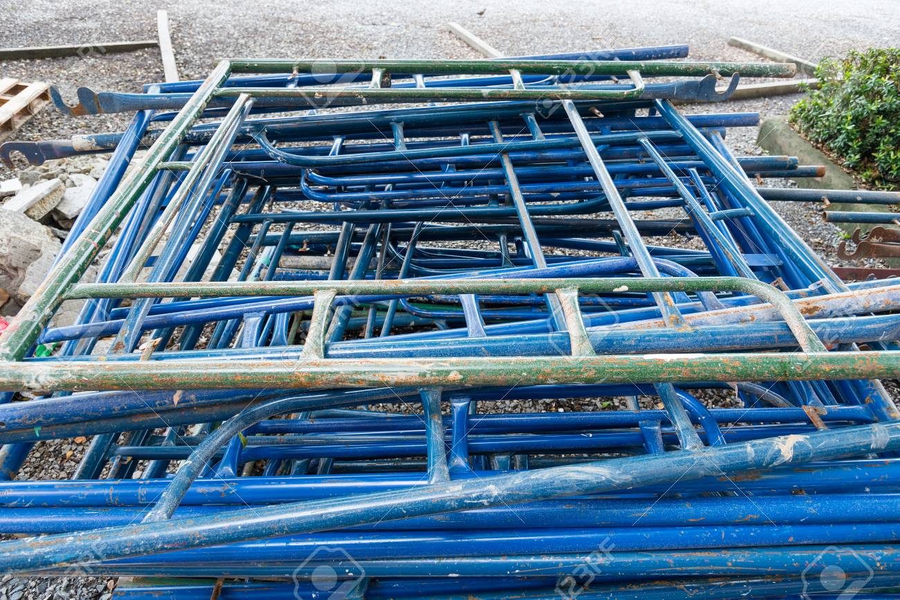 Ordinaire Scaffolding Storage In The Construction Site, Scaffolding Element Stock  Photo   79940101