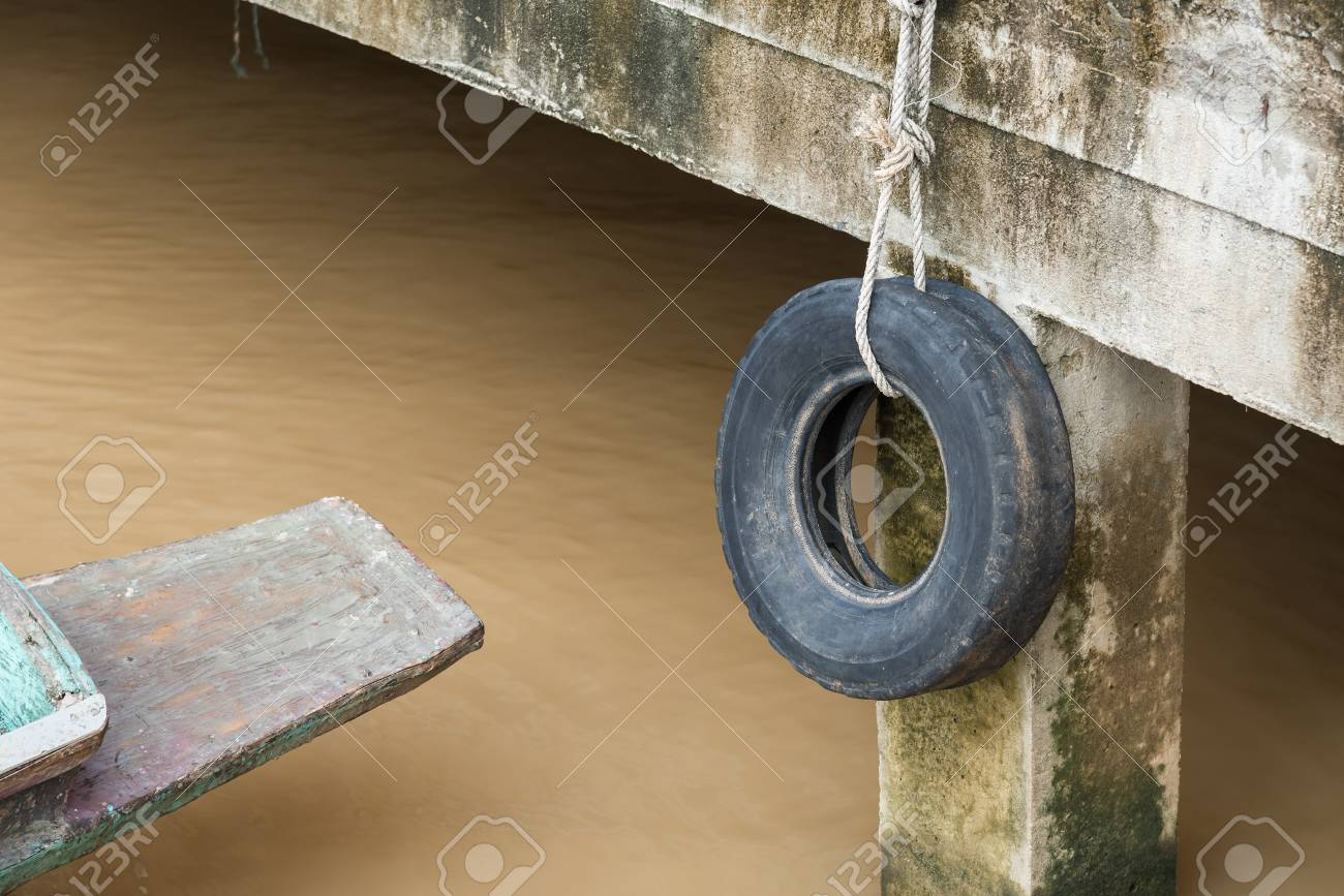 Old Tires Used As A Bumper For Boats Or Big Truck Tires Used Stock