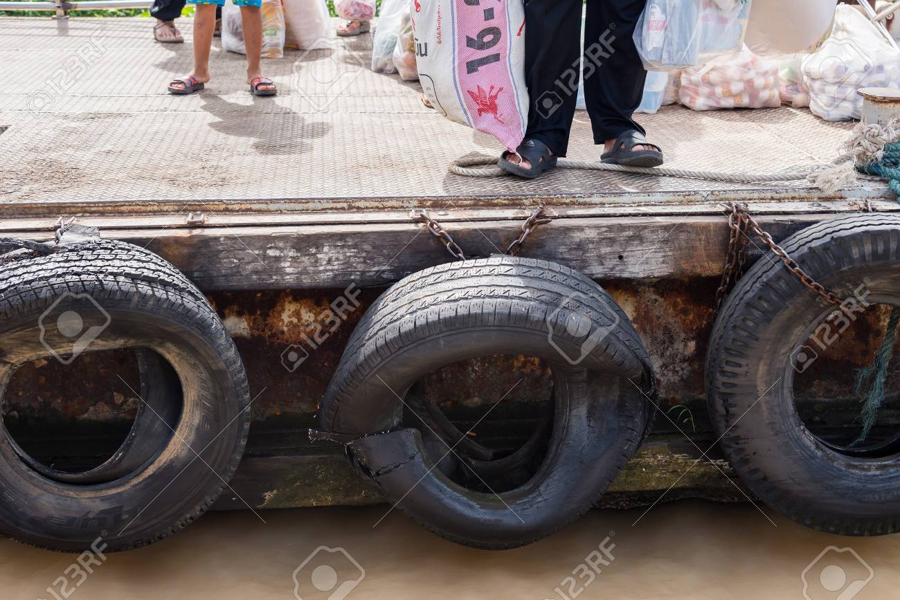 Big Truck Tires >> Nonthaburi Thailand June 11 2017 Old Tires Used As A Bumper