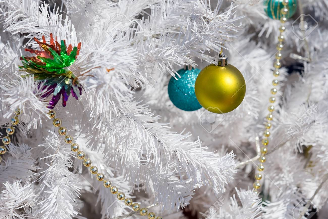 White Christmas Tree With Colorful Ornaments Outside Royalty-Vrije ...