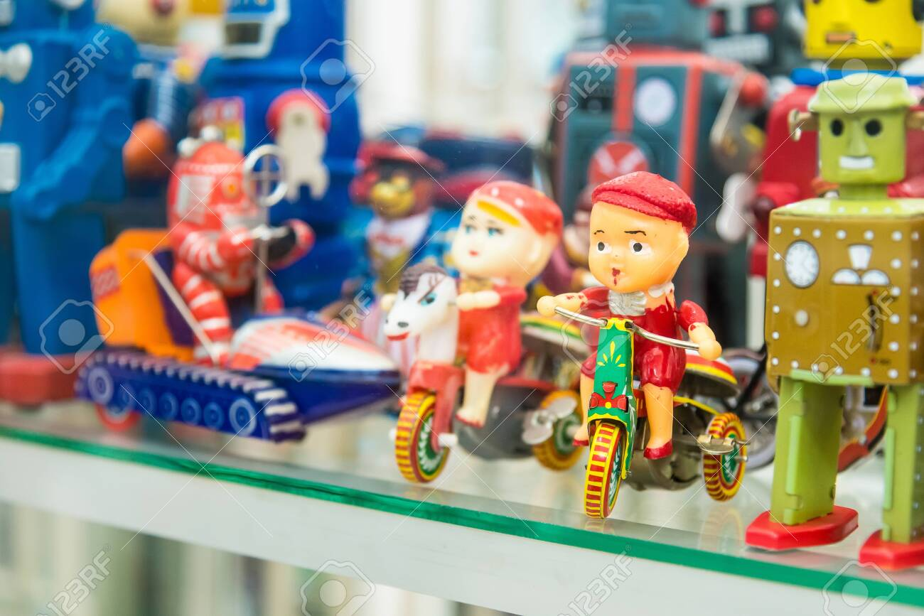 Ayutthaya, Thailand - September, 29, 2019 : Group of vintage toys at MILLION TOY MUSEUM in Ayutthaya, Thailand. - 134817312