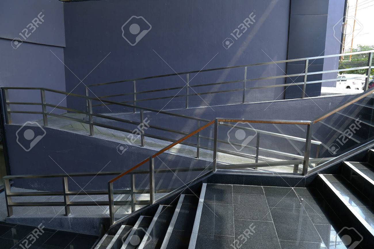 Handicapped Ramp And Stairs To Access A Building,Thailand Stock Photo    68625577
