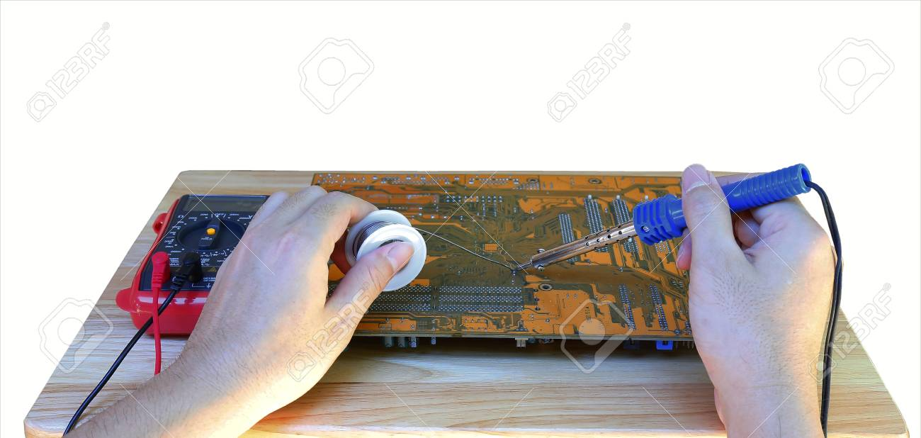 Human Hand Holding Soldering Iron Repairing Computer Circuit Stock Board Royalty Free Photo Image Of Pc