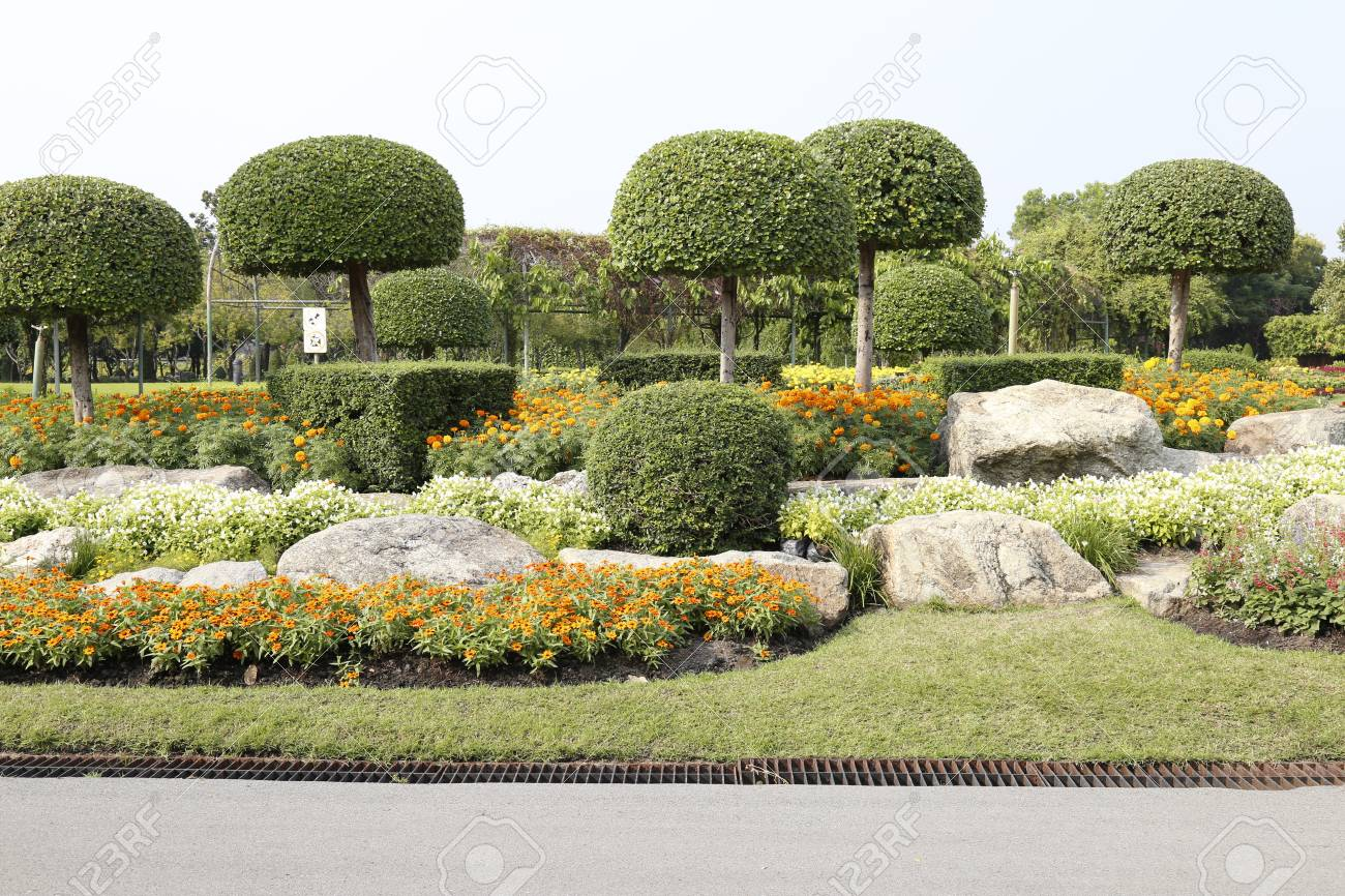 Flowers And Plants In The Garden For Landscape Used Or Background Used , At  King Rama