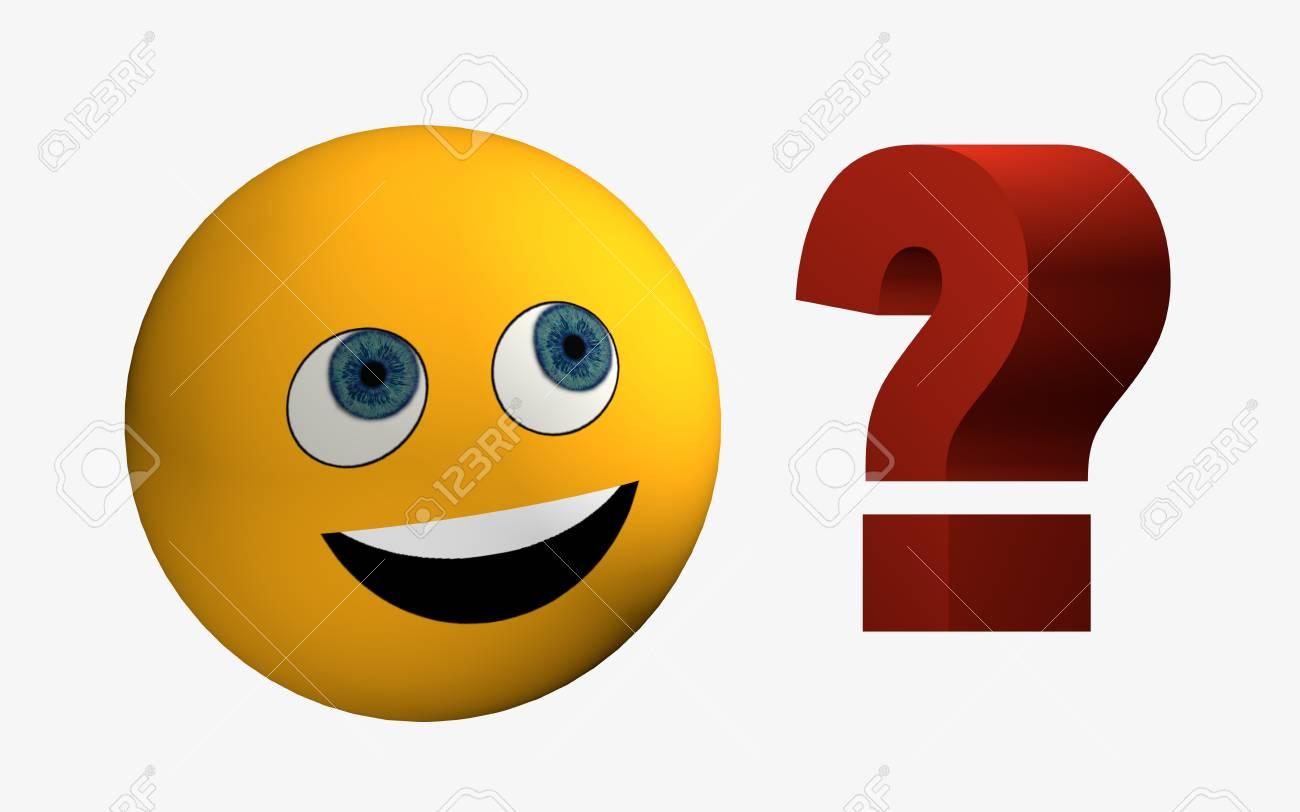 Rire Emoticone Ressemble A Un Point D Interrogation Rendu 3d Banque D Images Et Photos Libres De Droits Image 84934697