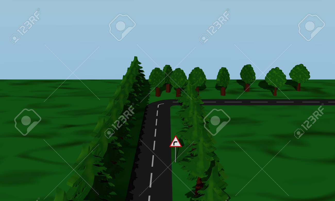 ドイツの道路標識で右道路状況曲...