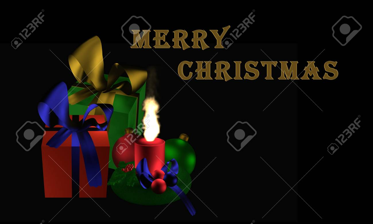 Weihnachtsbilder Und Videos.Moody Christmas Image With Presents And Burning Candle On Black