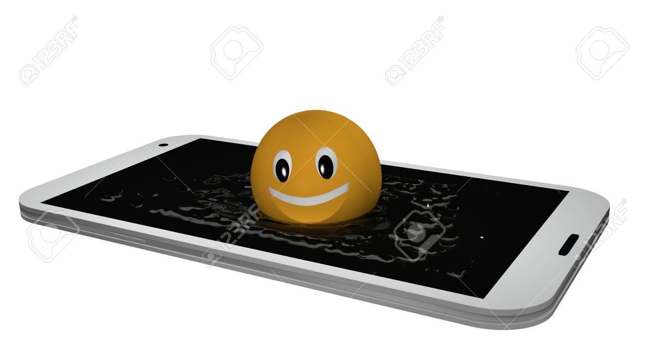 Emoticon jumps into a display of water. 3d rendering Standard-Bild - 91678768