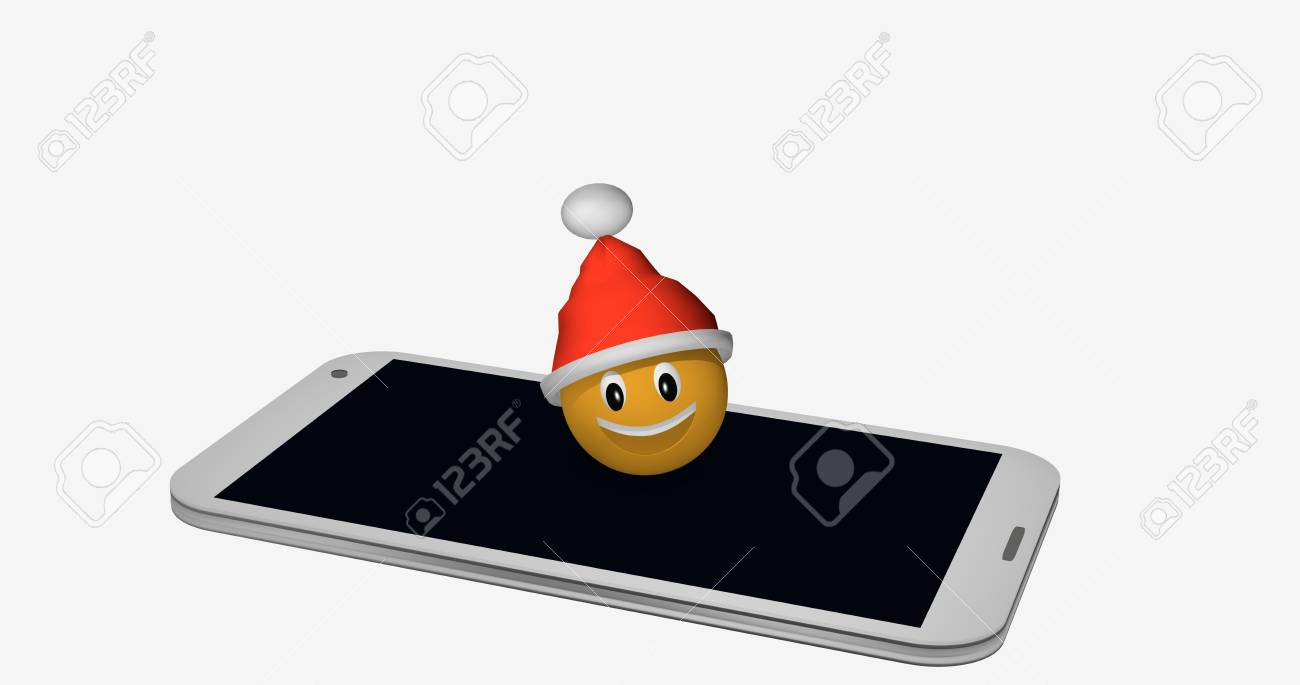 Emoticon with Santa hat on the display of a mobile phone. 3d rendering Standard-Bild - 91784913