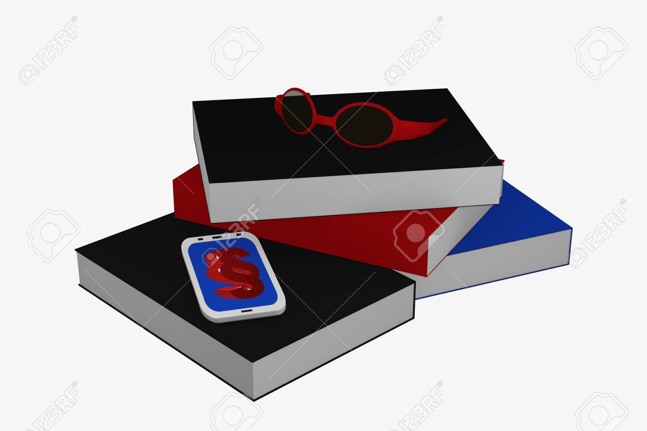 Books stack on which a cell phone with paragraph sign and a glasses lies. 3d rendering Standard-Bild - 91656804