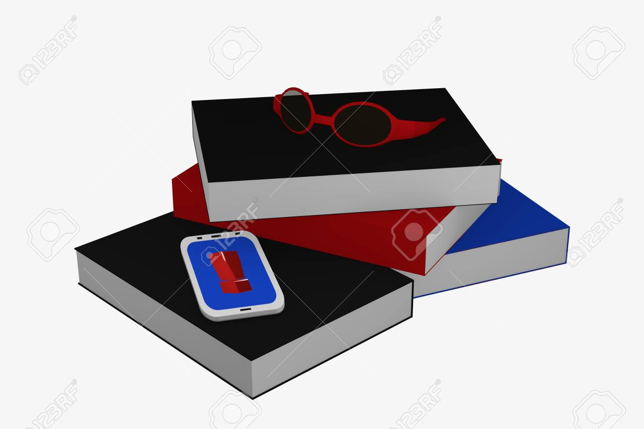 Stack of books on which a cell phone with exclamation mark and a pair of glasses lies. 3d rendering Standard-Bild - 91656806