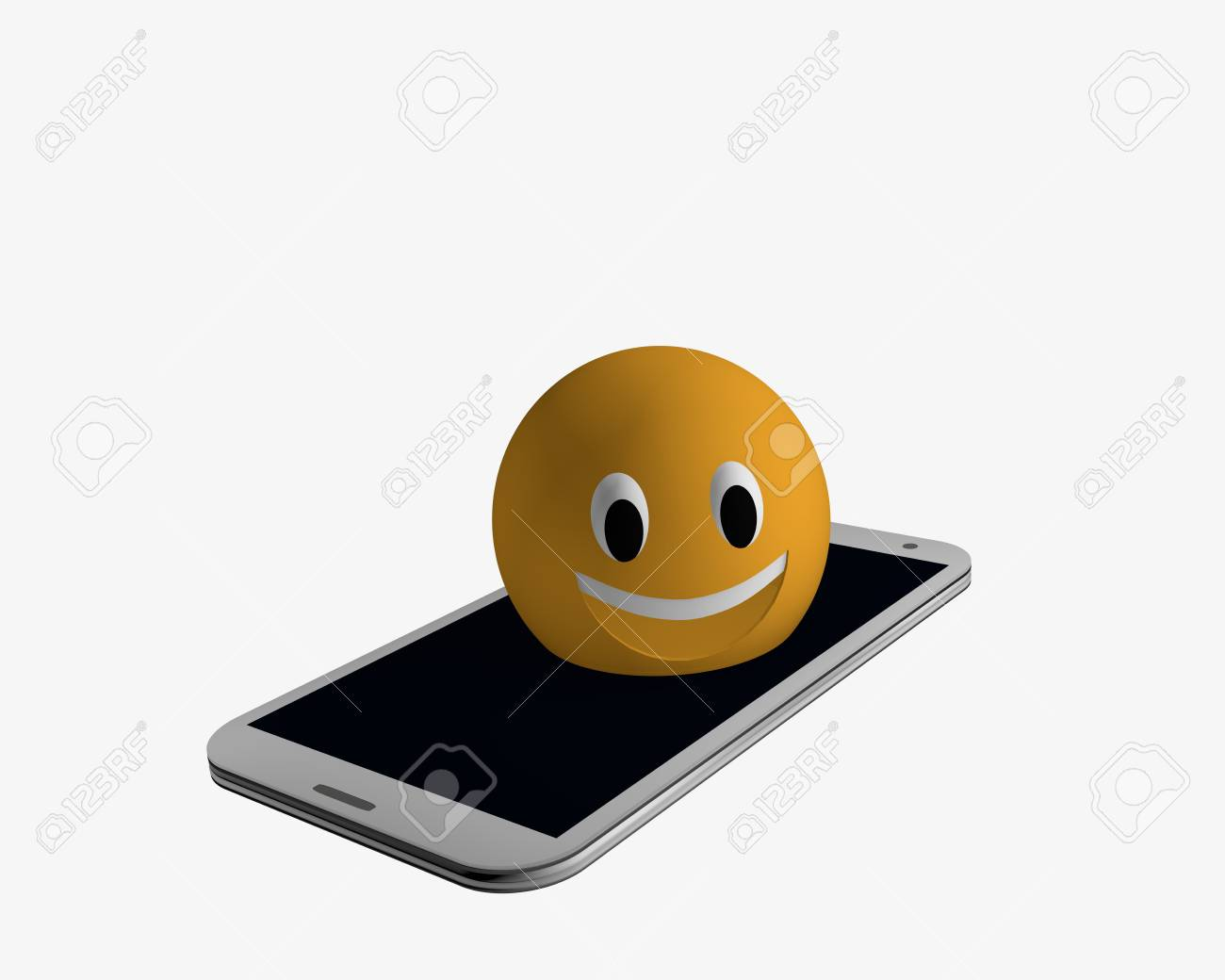 Emoticon comes out of a cell phone. 3d rendering Standard-Bild - 91630325