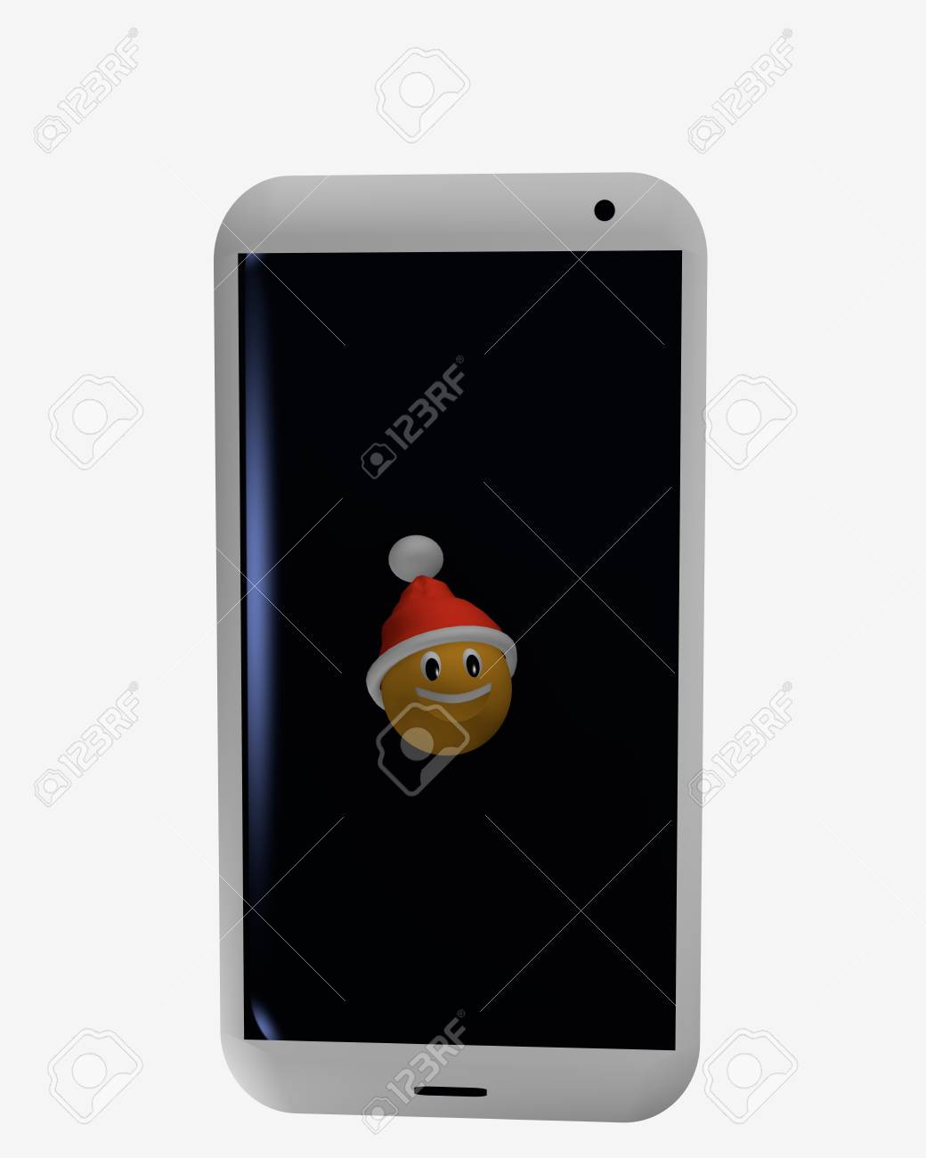 Mobile phone on which is an emoticon with santa hat. 3d rendering Standard-Bild - 91630326