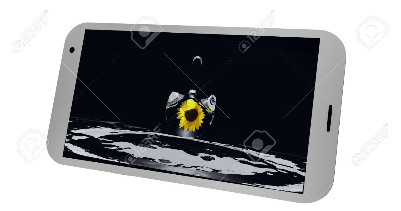 Mobile phone on the display of which is a picture with a drop of water and a sunflower. 3d Rendering Standard-Bild - 91656812