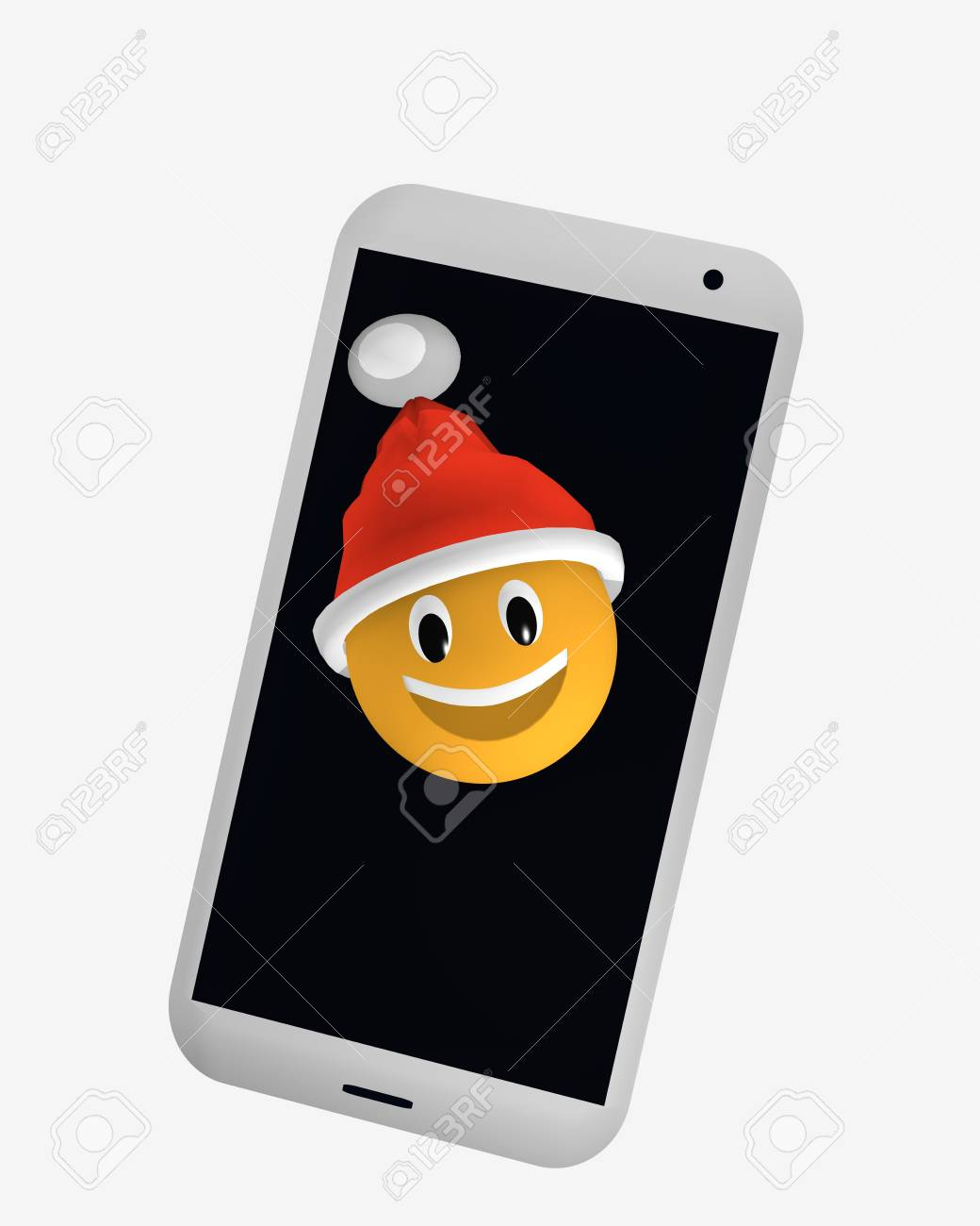 Emoticon with Santa hat looks from the screen of a cellphone 3d rendering Standard-Bild - 91860049