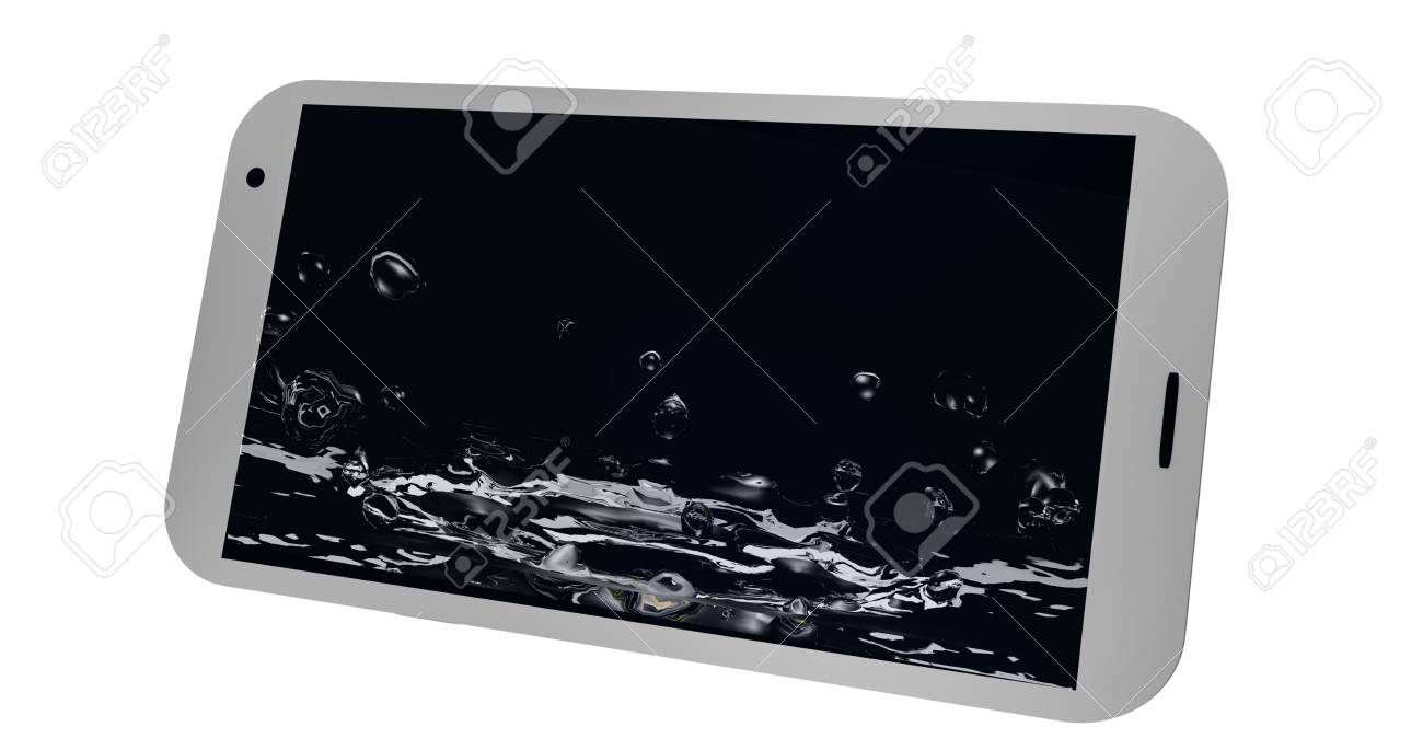 Mobile phone is shown on the display rippling water. 3d rendering Standard-Bild - 91860052
