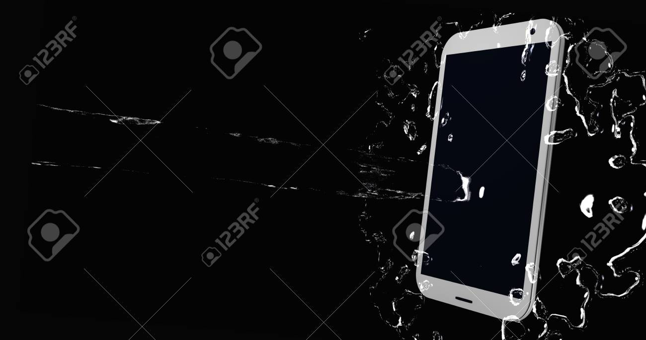 Water jet splashes on the display of a mobile phone. 3d rendering Standard-Bild - 91656814