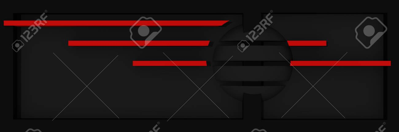Abstract website header / banner in black and red with stripes and ball. 3d rendering Standard-Bild - 92673535