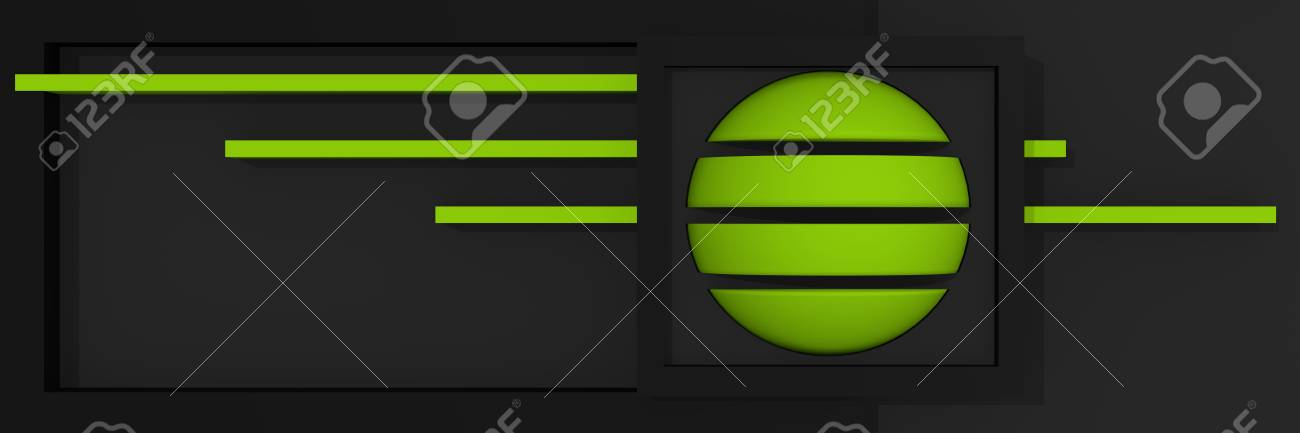 Abstract website header / banner with clear shapes and bold colors in black, gray and apple green, with bars, box and ball. 3d rendering Standard-Bild - 92673359