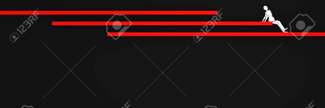 Website header / banner in black and red, with bars on which a puppet figure sits. 3d rendering Standard-Bild - 92673363