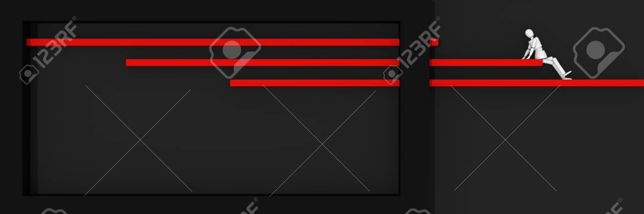 Website header / banner in black and red, with bars and box on which sits a puppet figure. 3d rendering Standard-Bild - 92673365