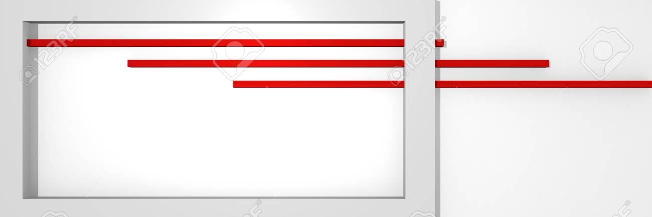 Website header in 3d, with box shape and stripes in red and white. 3d rendering Standard-Bild - 92673366