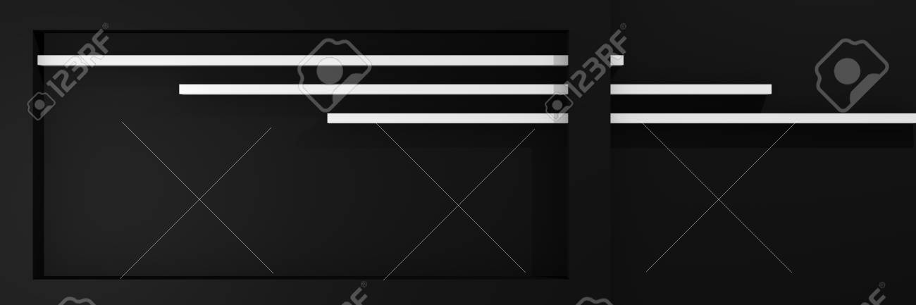 Website header in 3d, with box shape and stripes in black and white. 3d rendering Standard-Bild - 92673368
