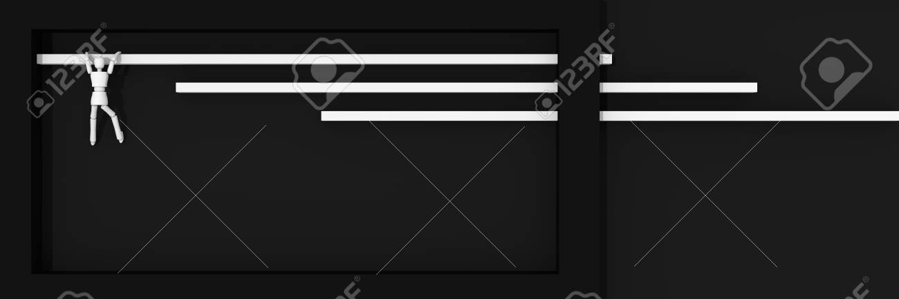 Website header / banner in black and white, with bars on which a puppet figure pulls up. 3d rendering Standard-Bild - 92673369