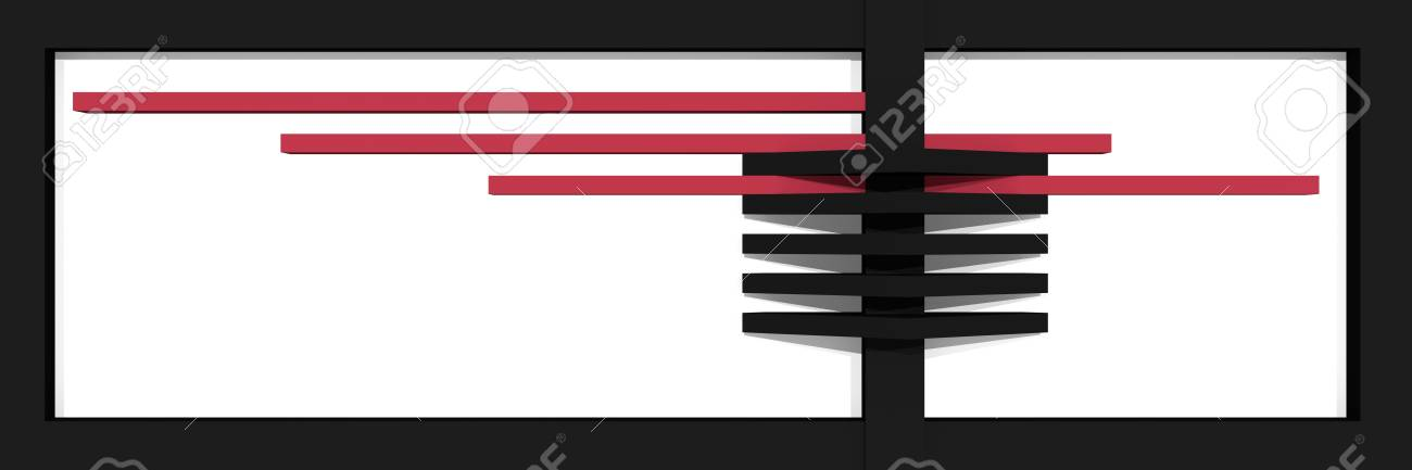Header / banner for the website with clean lines and box shape in black, old rose and white. 3d rendering Standard-Bild - 92673375