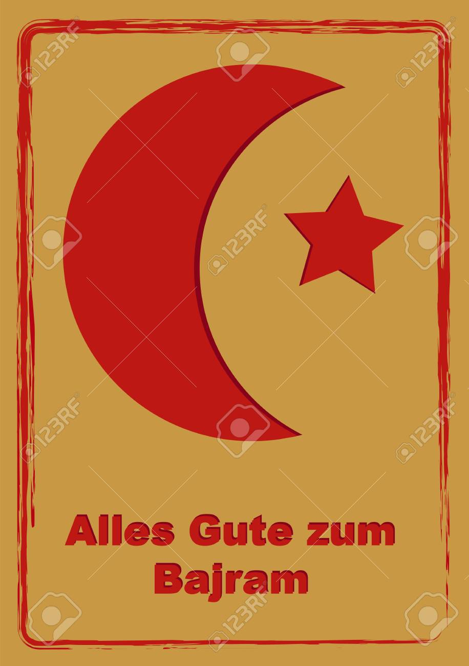 Greeting Card To Eid Mubarak With Text In German All The Best